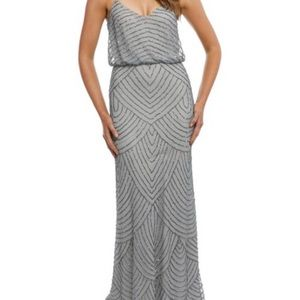 NWT ADRIANNA PAPELL beaded blousen art deco gown